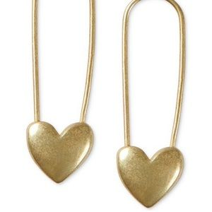 Lucky Brand Gold-Tone Heart Safety Pin Earrings